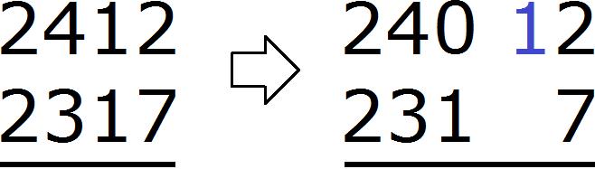2412 minus 2317 уголком step 1