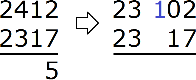 2412 minus 2317 уголком step 3