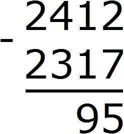 2412 minus 2317 уголком step 4