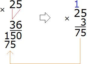 25 умножить на 35 шаг 3