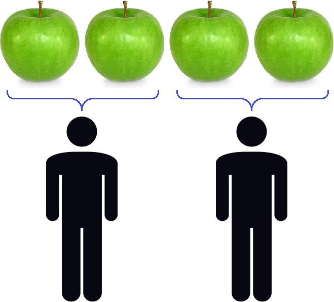 четыре яблока на двоих