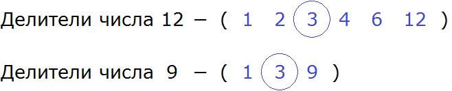 делители числа 12 и 9 определение НОД