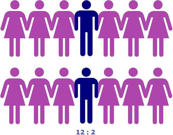12 девочек к двум мальчикам