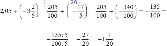 Две целых пять сотых прибавить минус три целых две пятых равно минус одна целая семь двадцатых