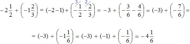 Минус две целых одна вторая прибавить минус одну целую две третьих равно минус четыре целых одна шестая