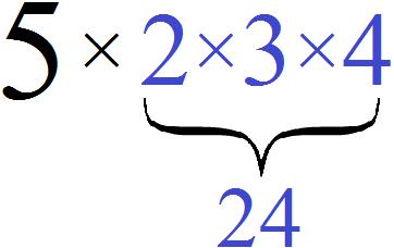 пять умножить на два на три на четыре равно 120