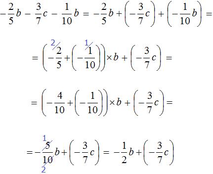 минус две пятых б минус три седьмых ц минус одна десятая б равно минус одна вторая б плюс минус три седьмых ц