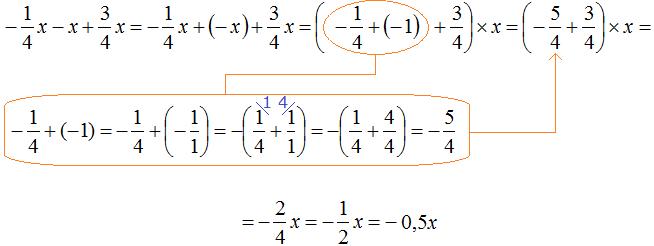 минус одна четвертая x плюс x плюс три четрвертых x равно минус одна вторая x