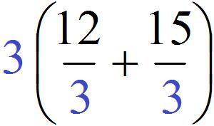 вынесение общего множители 12 плюс 15