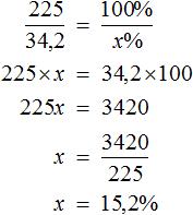 решение 2 задачи 225 к 34 2 как 100 к x