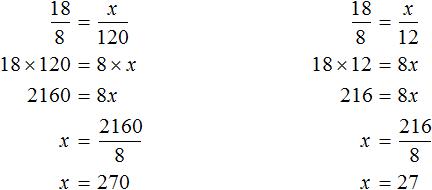 18 на 8 равно x на 120 и x na 12 решение