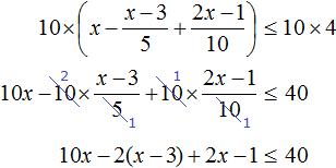 x minus x minus 3 na 5 plus 2x minus 1 na 10 less ravno 4 step 2